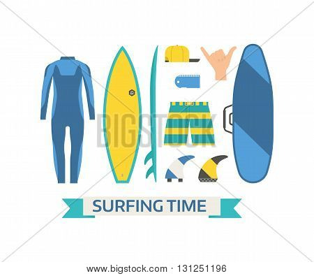 Surfing Equipment Vector Set