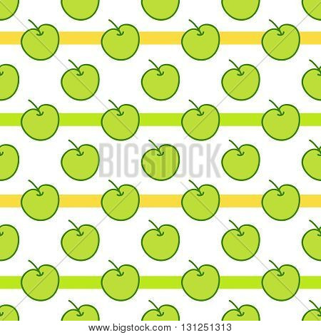 Seamless summer background. Hand drawn pattern. Suitable for fabric, greeting card, advertisement, wrapping. Bright and colorful green apples
