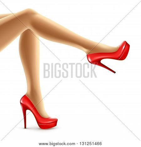 Vector illustration of female legs in red shoes. Vector illustration EPS10