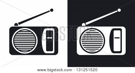 Vector radio icon. Two-tone version on black and white background