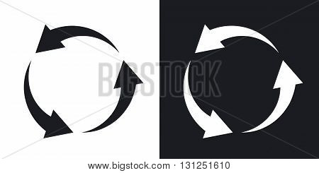 Vector recycle icon. Two-tone version on black and white background
