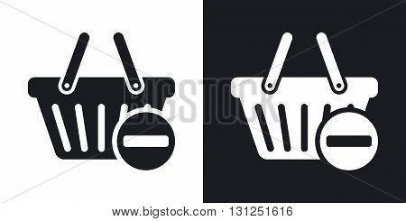 Vector remove from shopping basket icon. Two-tone version on black and white background