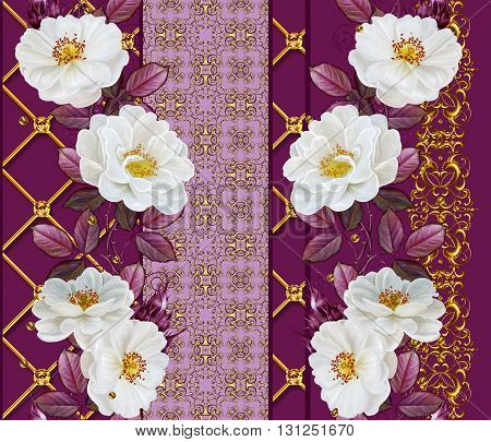 Vertical floral border. Pattern seamless. Old style. Flower garland of white roses. Gold weave.