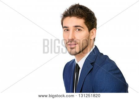 Close-up portrait of a handsome smiling man in elegant suit. Men's beauty, fashion. Businessman. Isolated over white.