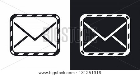 Vector sealed envelope icon. Two-tone version on black and white background
