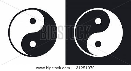 Yin and yang symbol vector. Two-tone version on black and white background
