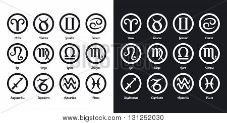 Set of zodiac signs. Two-tone version on black and white background