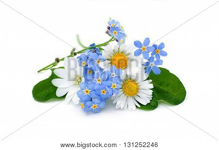 Bouquet of garden flowers isolated on white