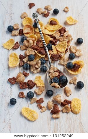Muesli With Blueberry And Silver Spoon