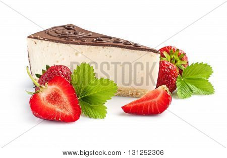 Piece Of Cheesecake With Fresh Strawberry