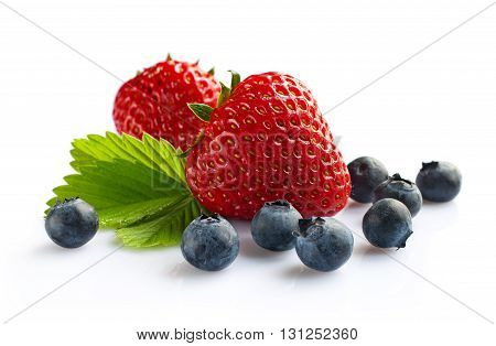 Strawberry and blueberry isolated on white background