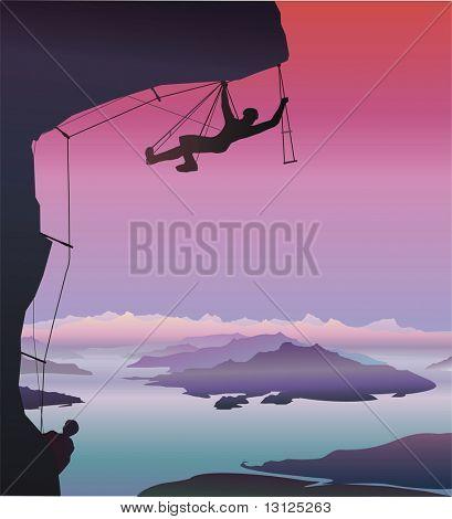 Climber. Fantastic landscape.  (vector format)