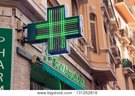 Pharmacy Neon Sign. Pharmacy store in France