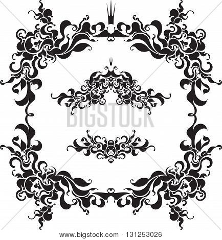 Pair Of Decorative Unusual Frames With Crown