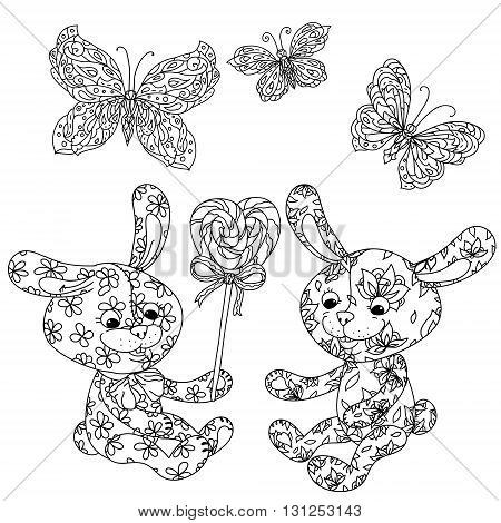uncolored toy bunny and sweets with butterfly in coloring book style. Hand-drawn, doodle, vector the best for your design, t-shirt, cards, coloring book. Black and white for adult coloring book.