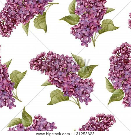 Floral seamless pattern with watercolor violet lilac