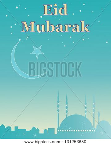 an illustration of a muslim greeting card celebrating eid festival with an islamic skyline and symbol in colorful jade