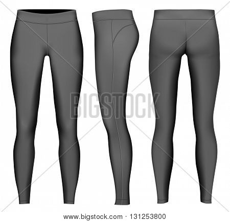 Women's full length compression tights. Black variant. Fully editable handmade mesh. Vector illustration.