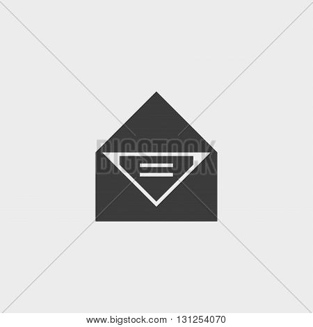 Open envelope icon in a flat design in black color. Vector illustration eps10