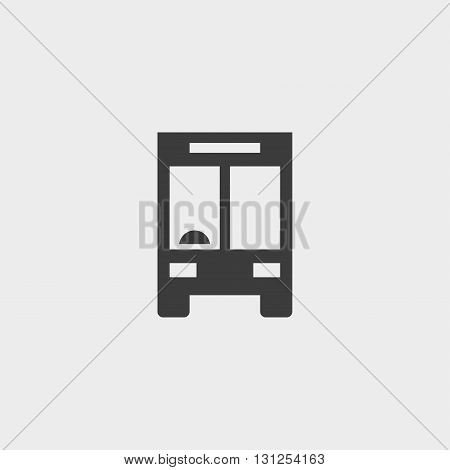Bus icon in a flat design in black color. Vector illustration eps10