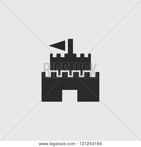 Castle Icon in a flat design in black color. Vector illustration eps10