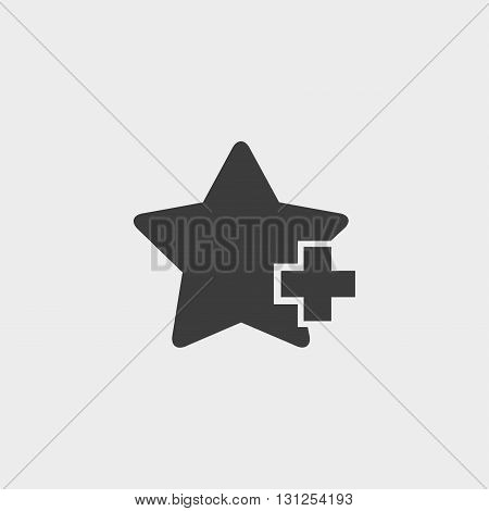 Star with plus icon in a flat design in black color. Vector illustration eps10