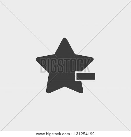 Star with minus icon in a flat design in black color. Vector illustration eps10