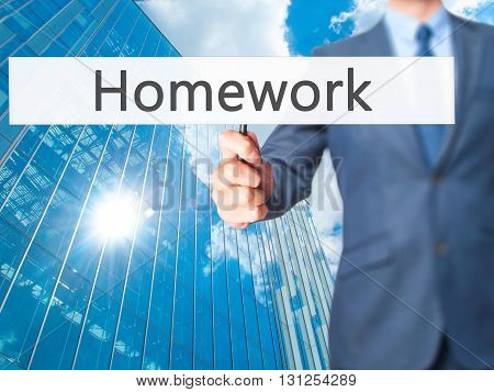 Homework - Businessman Hand Holding Sign