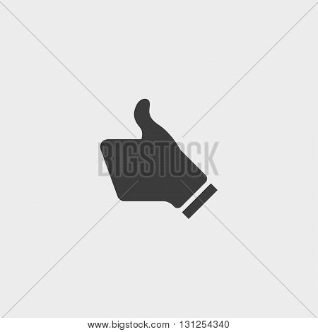 Thump up icon in a flat design in black color. Vector illustration eps10