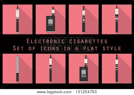 Electronic Cigarette, Electronic Cigarette Flat Icons, E-cigarette Icons, Types Vaporizers, Smoking