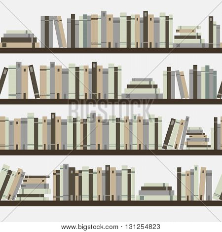 Seamless Books, Seamless Pattern With Books, Library Bookshelf, Library, Bookstore, Books On A Shelv
