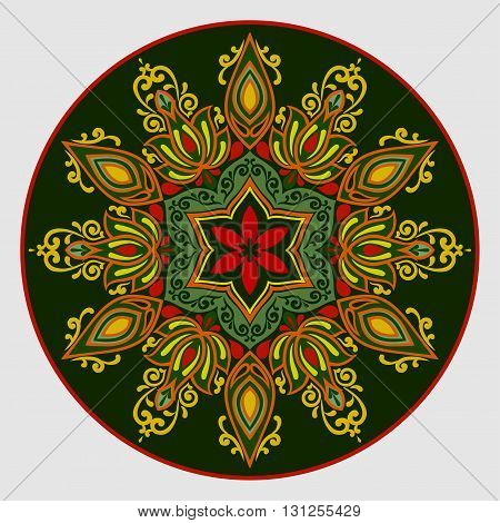 Flower Mandala in green and red colors. Vintage decorative elements. Oriental pattern. Islam, Arabic, pakistan, chinese, ottoman, Indian, turkish motifs