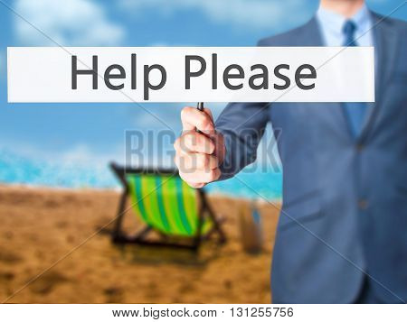 Help Please - Businessman Hand Holding Sign