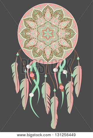 Hand-drawn mandala with dreamcatcher with feathers in pink and lightcyan colors. Ethnic illustration, tribal