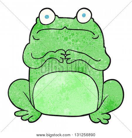 freehand textured cartoon nervous frog