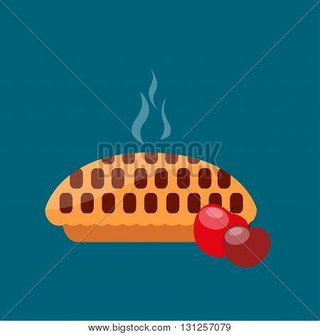 Apple pie. Vector illustration Hot apple pie. Homemade apple pie with two red apples on blue background