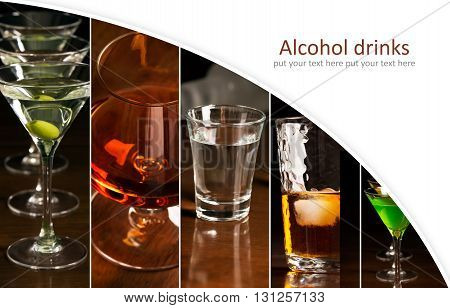 Collage of photos of different alcohol drinks (dark background)