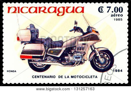 STAVROPOL RUSSIA - MAY 24 2016: a stamp printed in Nicaragua shows an motorcycle Honda stamp devoted to the centenary of the invention of motorcycle cirka 1984
