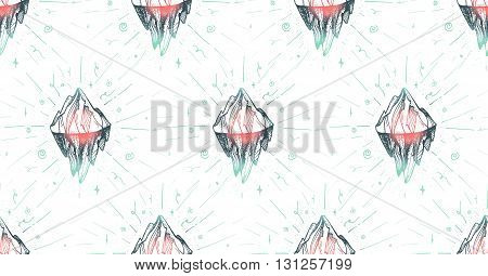 Inspirational mountain seamless pattern for print fabric t-shirt greeting card. Vintage boho hand drawn nature iceberg peak. Travel outdoors adventure. Motivational meditation ornament. Vector