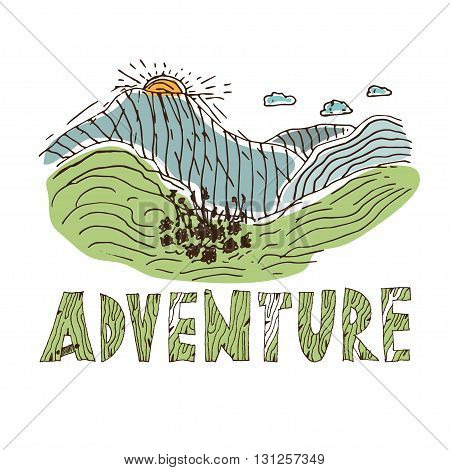 Hand Drawn Labels For Adventure Themes. Vector