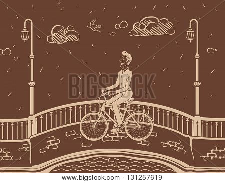 Man bicycling in City. The vector illustration of the Man bicycling in City. Hipster Man Are Riding on a Bicycle Along the Street. Bicyclist in City. Biking.
