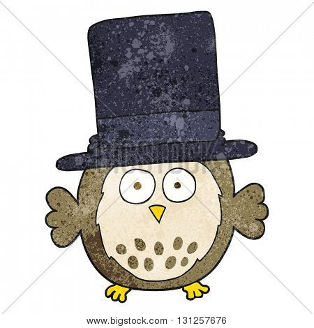 freehand textured cartoon owl wearing top hat