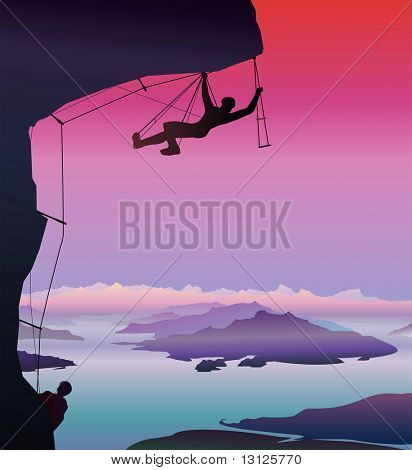 Illustration: Climber. Fantastic landscape.