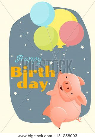 Birthday and invitation card animal background with pig,vector,illustration