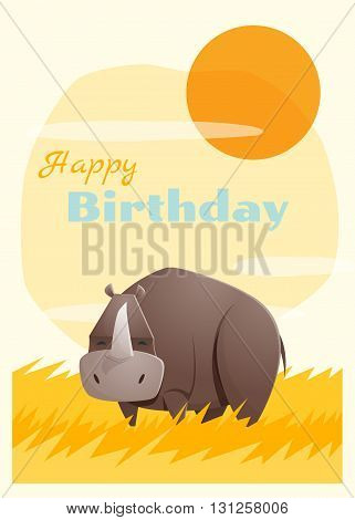Birthday and invitation card animal background with rhino,vector,illustration