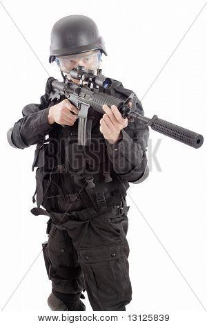 Shot of a soldier holding gun.
