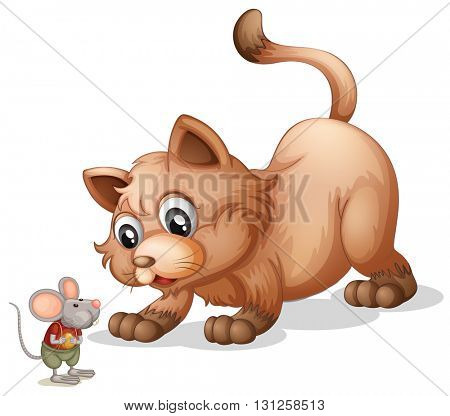 Brown cat looking at little mouse illustration