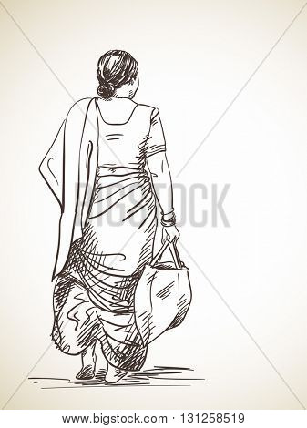 Sketch of woman walking wearing sari, Hand drawn illustration