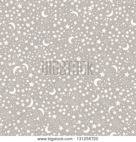 Seamless hand drawn pattern with night sky with stars and moons. Boho style ornament. Repetition background for textiles , wrapping paper or wallpapers. Isolated vector illustration.