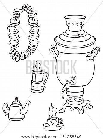 illustration on white background samovar cups of tea and bagels on a rope
